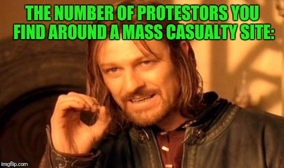 One Does Not Simply Meme | THE NUMBER OF PROTESTORS YOU FIND AROUND A MASS CASUALTY SITE: | image tagged in memes,one does not simply | made w/ Imgflip meme maker