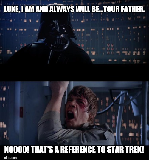 Star Wars No Meme | LUKE, I AM AND ALWAYS WILL BE...YOUR FATHER. NOOOO! THAT'S A REFERENCE TO STAR TREK! | image tagged in memes,star wars no | made w/ Imgflip meme maker