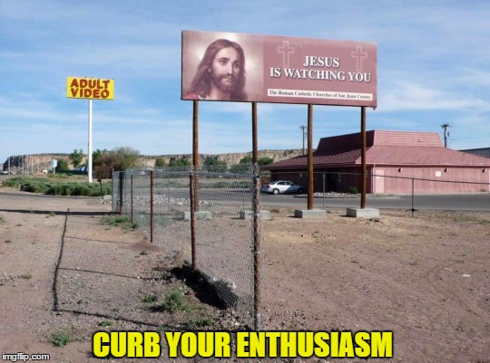 Strategically Placed | CURB YOUR ENTHUSIASM | image tagged in signs/billboards | made w/ Imgflip meme maker