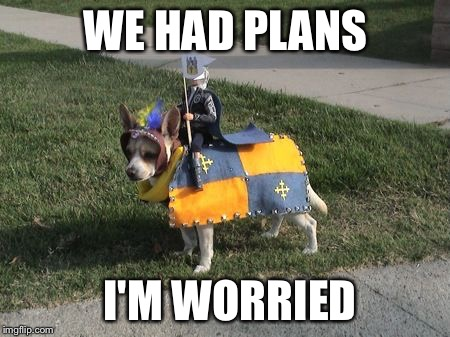 Dog Calvary  | WE HAD PLANS I'M WORRIED | image tagged in dog calvary | made w/ Imgflip meme maker