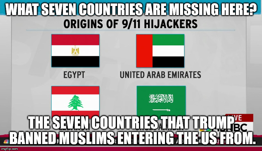 WHAT SEVEN COUNTRIES ARE MISSING HERE? THE SEVEN COUNTRIES THAT TRUMP BANNED MUSLIMS ENTERING THE US FROM. | image tagged in 911 hijackers country of origin | made w/ Imgflip meme maker