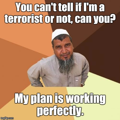 1awhcf.jpg | You can't tell if I'm a terrorist or not, can you? My plan is working perfectly. | image tagged in 1awhcfjpg | made w/ Imgflip meme maker