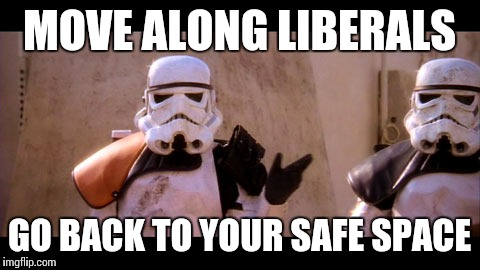MOVE ALONG LIBERALS GO BACK TO YOUR SAFE SPACE | made w/ Imgflip meme maker