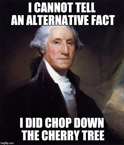 George Washington | I CANNOT TELL AN ALTERNATIVE FACT I DID CHOP DOWN THE CHERRY TREE | image tagged in memes,george washington | made w/ Imgflip meme maker