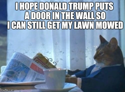 I Should Buy A Boat Cat | I HOPE DONALD TRUMP PUTS A DOOR IN THE WALL SO I CAN STILL GET MY LAWN MOWED | image tagged in memes,i should buy a boat cat | made w/ Imgflip meme maker