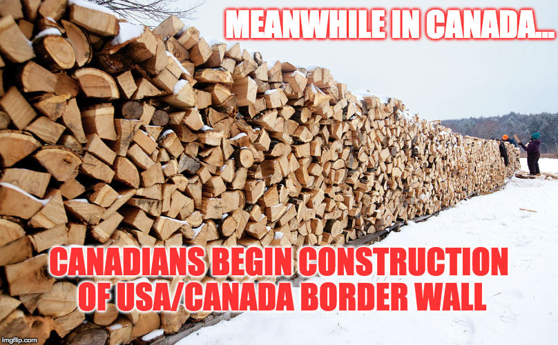 That's it America!!! | MEANWHILE IN CANADA... CANADIANS BEGIN CONSTRUCTION OF USA/CANADA BORDER WALL | image tagged in build a wall,meanwhile in canada,canadian politics,funny memes,political meme | made w/ Imgflip meme maker