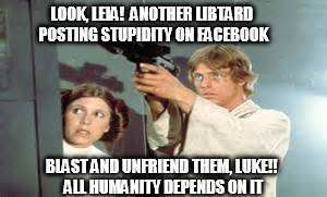 Zapping Libtards from Your Friends List | LOOK, LEIA!  ANOTHER LIBTARD POSTING STUPIDITY ON FACEBOOK BLAST AND UNFRIEND THEM, LUKE!! ALL HUMANITY DEPENDS ON IT | image tagged in luke skywalker,libtards,unfriended | made w/ Imgflip meme maker