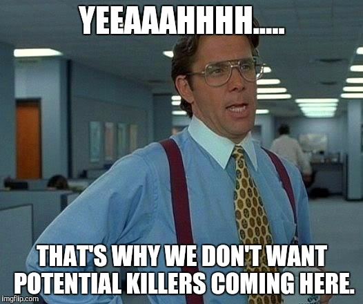 That Would Be Great Meme | YEEAAAHHHH..... THAT'S WHY WE DON'T WANT POTENTIAL KILLERS COMING HERE. | image tagged in memes,that would be great | made w/ Imgflip meme maker