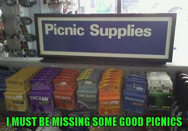 I love how they threw some headache medication in the mix!!! | I MUST BE MISSING SOME GOOD PICNICS | image tagged in picnic supplies,memes,trojan,funny,picnics | made w/ Imgflip meme maker