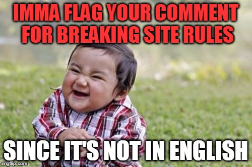Evil Toddler Meme | IMMA FLAG YOUR COMMENT FOR BREAKING SITE RULES SINCE IT'S NOT IN ENGLISH | image tagged in memes,evil toddler | made w/ Imgflip meme maker