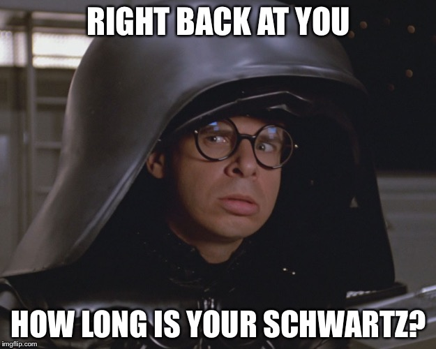 Spaceballs | RIGHT BACK AT YOU HOW LONG IS YOUR SCHWARTZ? | image tagged in spaceballs | made w/ Imgflip meme maker
