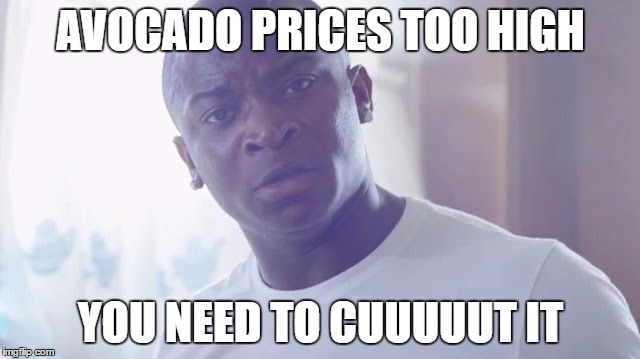 advocado tax | AVOCADO PRICES TOO HIGH YOU NEED TO CUUUUUT IT | image tagged in cutttit,otgenasis,trump,avocado,taxes,import | made w/ Imgflip meme maker