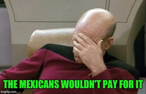 Captain Picard Facepalm Meme | THE MEXICANS WOULDN'T PAY FOR IT | image tagged in memes,captain picard facepalm | made w/ Imgflip meme maker