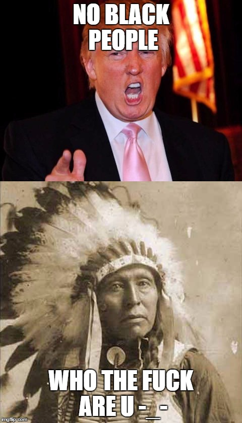 Donald Trump and Native American | NO BLACK PEOPLE WHO THE F**K ARE U -_- | image tagged in donald trump and native american | made w/ Imgflip meme maker