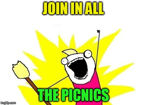 X All The Y Meme | JOIN IN ALL THE PICNICS | image tagged in memes,x all the y | made w/ Imgflip meme maker