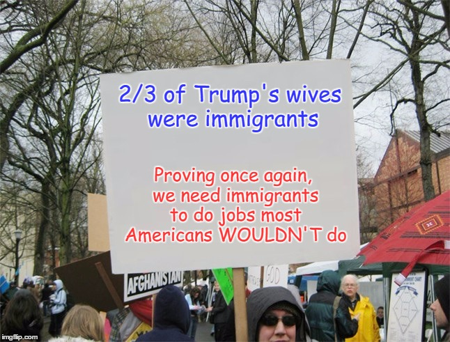 Credit given to the protester who wrote this | 2/3 of Trump's wives were immigrants Proving once again, we need immigrants to do jobs most Americans WOULDN'T do | image tagged in blank protest sign,memes | made w/ Imgflip meme maker