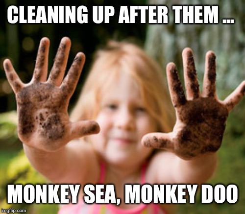 CLEANING UP AFTER THEM ... MONKEY SEA, MONKEY DOO | made w/ Imgflip meme maker