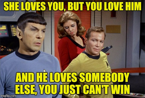 I don't care what any Romulan thinks, all I can say is love stinks | SHE LOVES YOU, BUT YOU LOVE HIM AND HE LOVES SOMEBODY ELSE, YOU JUST CAN'T WIN | image tagged in star trek,captain kirk,mr spock,love stinks | made w/ Imgflip meme maker