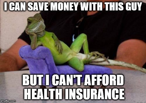 Sassy Iguana | I CAN SAVE MONEY WITH THIS GUY BUT I CAN'T AFFORD HEALTH INSURANCE | image tagged in memes,sassy iguana | made w/ Imgflip meme maker