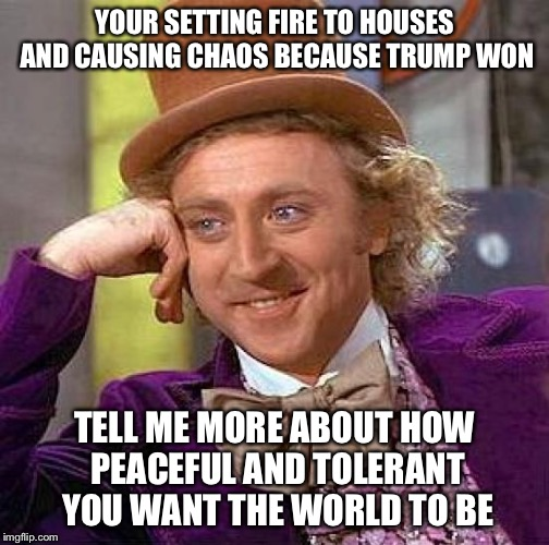 Creepy Condescending Wonka Meme | YOUR SETTING FIRE TO HOUSES AND CAUSING CHAOS BECAUSE TRUMP WON TELL ME MORE ABOUT HOW PEACEFUL AND TOLERANT YOU WANT THE WORLD TO BE | image tagged in memes,creepy condescending wonka | made w/ Imgflip meme maker