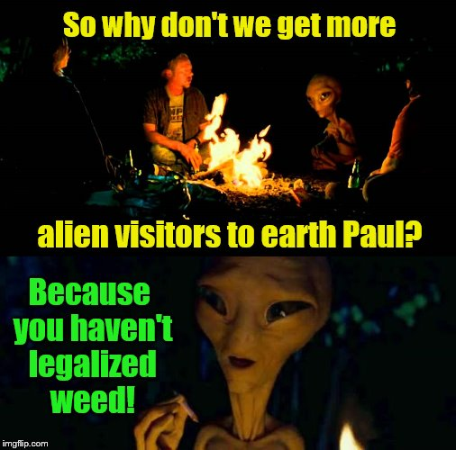 Paul the Alien. |  So why don't we get more; Because you haven't legalized weed! alien visitors to earth Paul? | image tagged in paul,really an alien,grey aliens | made w/ Imgflip meme maker