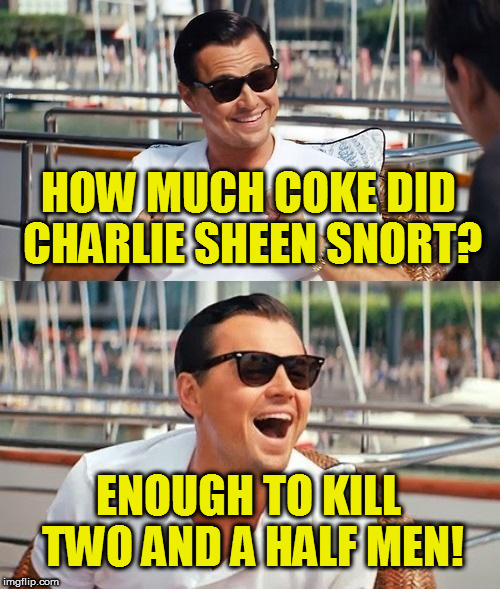 Leonardo Dicaprio Wolf Of Wall Street Meme | HOW MUCH COKE DID CHARLIE SHEEN SNORT? ENOUGH TO KILL TWO AND A HALF MEN! | image tagged in memes,leonardo dicaprio wolf of wall street | made w/ Imgflip meme maker