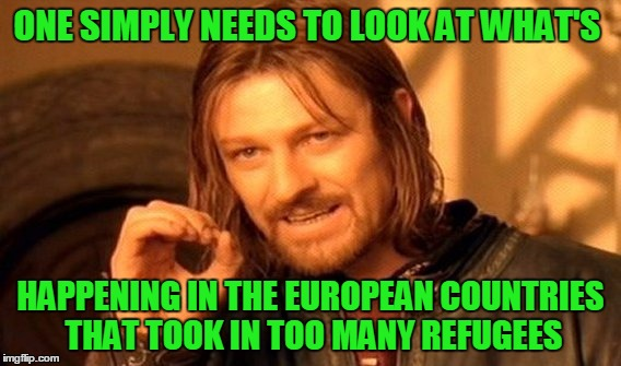 One Does Not Simply Meme | ONE SIMPLY NEEDS TO LOOK AT WHAT'S HAPPENING IN THE EUROPEAN COUNTRIES THAT TOOK IN TOO MANY REFUGEES | image tagged in memes,one does not simply | made w/ Imgflip meme maker