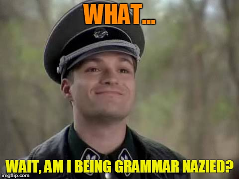 WHAT... WAIT, AM I BEING GRAMMAR NAZIED? | made w/ Imgflip meme maker