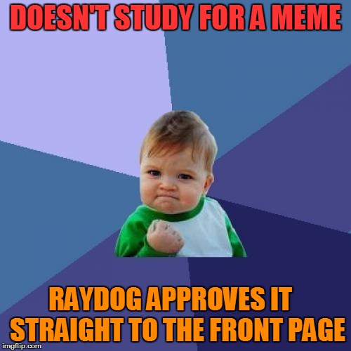 Success Kid Meme | DOESN'T STUDY FOR A MEME RAYDOG APPROVES IT   STRAIGHT TO THE FRONT PAGE | image tagged in memes,success kid | made w/ Imgflip meme maker