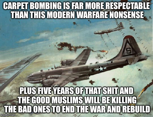 CARPET BOMBING IS FAR MORE RESPECTABLE THAN THIS MODERN WARFARE NONSENSE PLUS FIVE YEARS OF THAT SHIT AND THE GOOD MUSLIMS WILL BE KILLING T | made w/ Imgflip meme maker