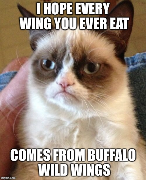 Grumpy Cat Meme | I HOPE EVERY WING YOU EVER EAT COMES FROM BUFFALO WILD WINGS | image tagged in memes,grumpy cat | made w/ Imgflip meme maker