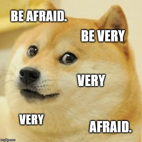Doge Meme | BE AFRAID. BE VERY VERY VERY AFRAID. | image tagged in memes,doge | made w/ Imgflip meme maker