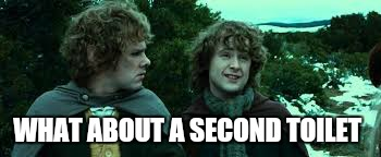It has to go somewhere  | WHAT ABOUT A SECOND TOILET | image tagged in memes,lord of the rings | made w/ Imgflip meme maker
