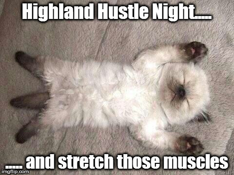 Hustle Cat | Highland Hustle Night..... ..... and stretch those muscles | image tagged in exercise cat,dance | made w/ Imgflip meme maker