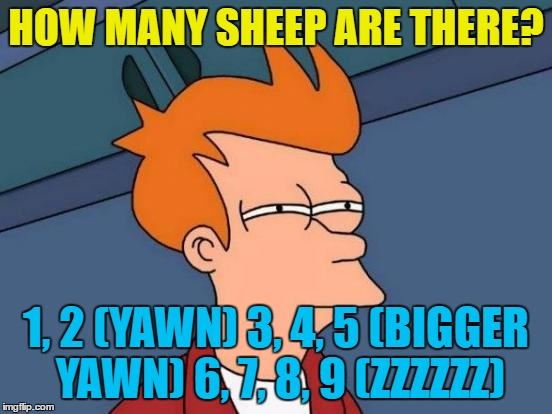 Futurama Fry Meme | HOW MANY SHEEP ARE THERE? 1, 2 (YAWN) 3, 4, 5 (BIGGER YAWN) 6, 7, 8, 9 (ZZZZZZ) | image tagged in memes,futurama fry | made w/ Imgflip meme maker