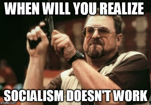 Am I The Only One Around Here Meme | WHEN WILL YOU REALIZE SOCIALISM DOESN'T WORK | image tagged in memes,am i the only one around here | made w/ Imgflip meme maker