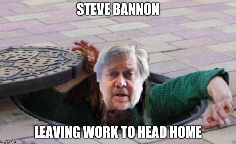 Steve Bannon leaving work |  STEVE BANNON; LEAVING WORK TO HEAD HOME | image tagged in sewer rat,bannon,white house | made w/ Imgflip meme maker