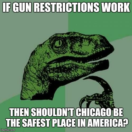 Philosoraptor Meme | IF GUN RESTRICTIONS WORK THEN SHOULDN'T CHICAGO BE THE SAFEST PLACE IN AMERICA? | image tagged in memes,philosoraptor | made w/ Imgflip meme maker