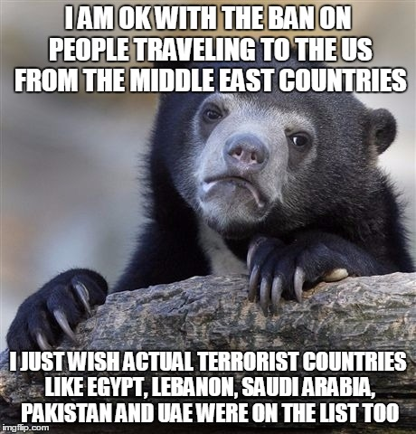 Confession Bear Meme | I AM OK WITH THE BAN ON PEOPLE TRAVELING TO THE US FROM THE MIDDLE EAST COUNTRIES I JUST WISH ACTUAL TERRORIST COUNTRIES LIKE EGYPT, LEBANON | image tagged in memes,confession bear | made w/ Imgflip meme maker