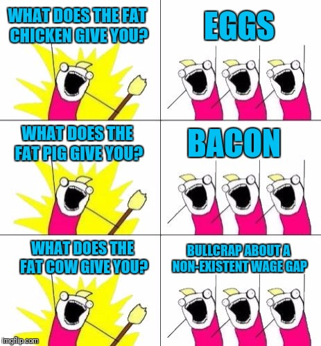 WHAT DOES THE FAT CHICKEN GIVE YOU? BULLCRAP ABOUT A NON-EXISTENT WAGE GAP EGGS WHAT DOES THE FAT PIG GIVE YOU? BACON WHAT DOES THE FAT COW  | made w/ Imgflip meme maker
