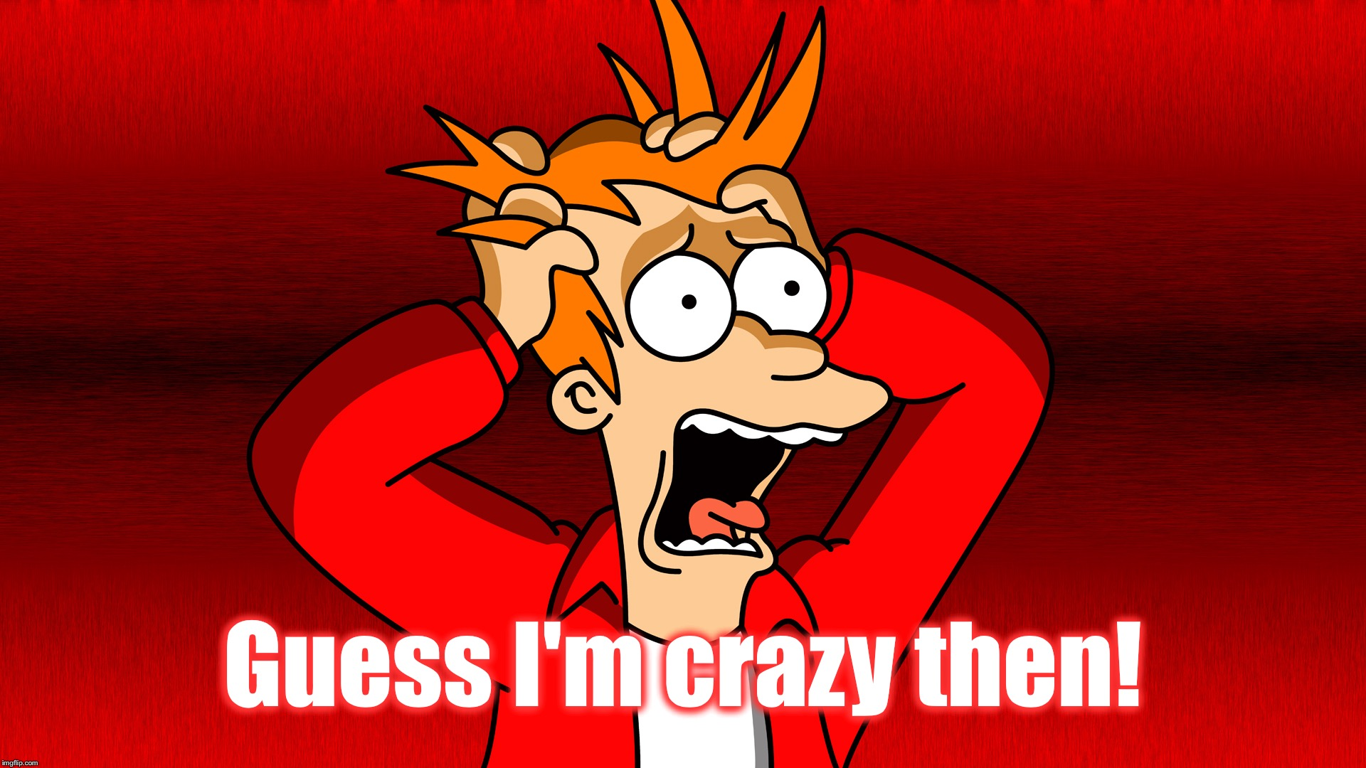 Fry Panic | Guess I'm crazy then! | image tagged in fry panic | made w/ Imgflip meme maker