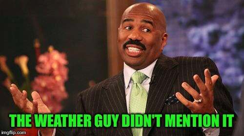 Steve Harvey Meme | THE WEATHER GUY DIDN'T MENTION IT | image tagged in memes,steve harvey | made w/ Imgflip meme maker