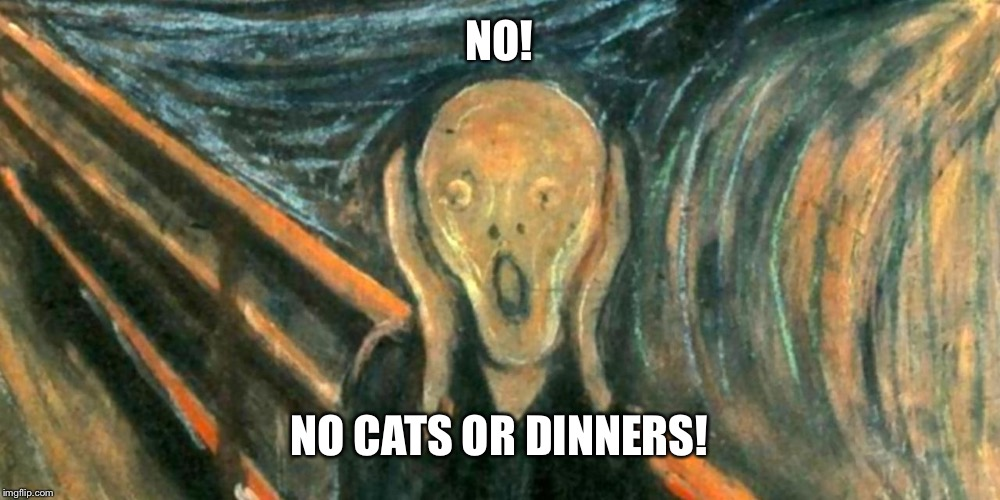 NO! NO CATS OR DINNERS! | made w/ Imgflip meme maker