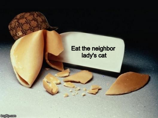 Scumbag Fortune Cookie | Eat the neighbor lady's cat | image tagged in scumbag fortune cookie | made w/ Imgflip meme maker