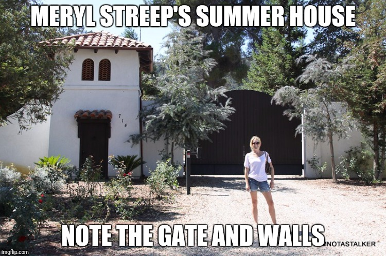 Streep racist hater and gater | MERYL STREEP'S SUMMER HOUSE NOTE THE GATE AND WALLS | image tagged in meryl streep | made w/ Imgflip meme maker