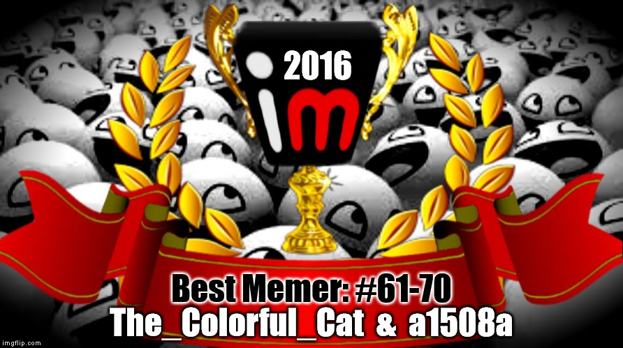 2016 imgflip Award Winner for Best Memer: #61-70 | 2016 Best Memer: #61-70 The_Colorful_Cat  &  a1508a | image tagged in 2016 imgflip awards,first annual,best memer brackets,winners,the_colorful_cat,a1508a | made w/ Imgflip meme maker
