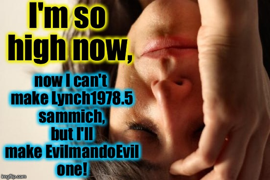 First World Problems Meme | I'm so high now, now I can't make Lynch1978.5 sammich, but I'll make EvilmandoEvil one! | image tagged in memes,first world problems | made w/ Imgflip meme maker