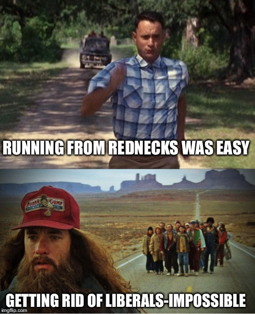 RUNNING FROM REDNECKS WAS EASY GETTING RID OF LIBERALS-IMPOSSIBLE | image tagged in forrest gump | made w/ Imgflip meme maker