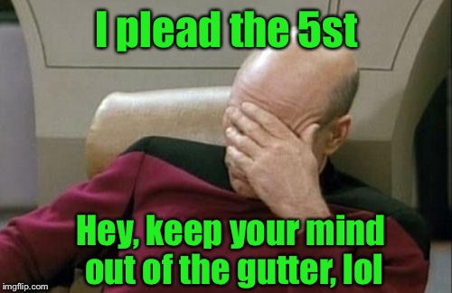 Captain Picard Facepalm Meme | I plead the 5st Hey, keep your mind out of the gutter, lol | image tagged in memes,captain picard facepalm | made w/ Imgflip meme maker
