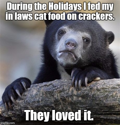 Confession Bear Meme | During the Holidays I fed my in laws cat food on crackers. They loved it. | image tagged in memes,confession bear | made w/ Imgflip meme maker